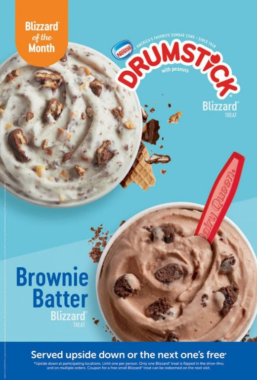 Drumstick Blizzard and Brownie Batter Blizzard